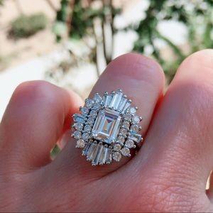 14k white gold diamond ring art deco halo emerald